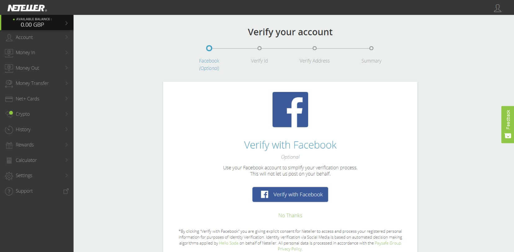 verify neteller with facebook